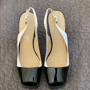 Boutique58 Black and White Leather Heels